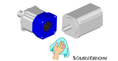 Clean and remove any dust or particales on the mounting surfaces of planetary gear box and servo motor